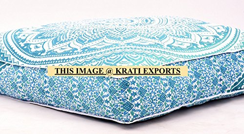 Krati Exports Indian Daybed Big Seating Peacock Mandala Floor Pillow Cover Pouf Cushion Case Bohemian Ottoman Meditation Throw Large By (White) by Krati Exports