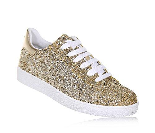 Twin-Set Goldener Schuh mit Schnürsenkeln Aus Glitzern und Leder, phantasievoll und Modisch, Mädchen, Damen-35
