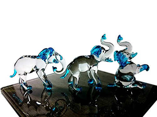 Sansukjai Set 3 Elephant Figurines Animals Hand Painted Blue Hand Blown Glass Art Collectible Gift - City Factory Stores Park At