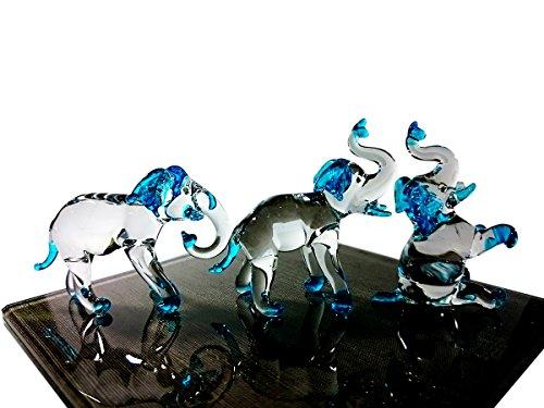 - Sansukjai Set 3 Elephant Figurines Animals Hand Painted Blue Hand Blown Glass Art Collectible Gift Decorate