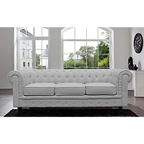 BD Home Furnishings Classic Scroll Arm Button Tufted Chesterfield Style Sofa    Light Gray