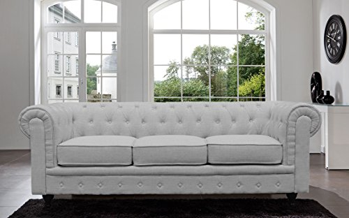 BD Home Furnishings Classic Scroll Arm Button Tufted Chesterfield Style Sofa – Light Gray