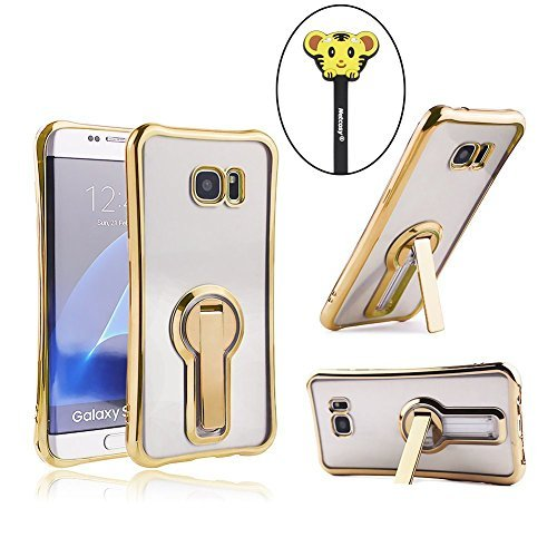(Galaxy S7 Edge Case, Netcosy Luxury Slim TPU Bumper Clear Case Cover with 360 Degree Rotatable Holder Stand for Samsung Galaxy S7 Edge (Gold))