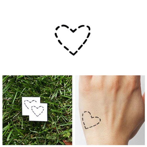 a44be283e263d Tattify Dotted Line Heart Temporary Tattoo - On your sleeve (Set of 2) -  Other Styles Available - Fashionable Temporary Tattoos - Long Lasting and  ...