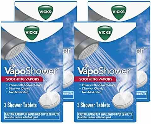 Vicks Vaposhower Shower Bomb Aromatherapy Vapors, Eucaplytus & Menthol, 12 Count