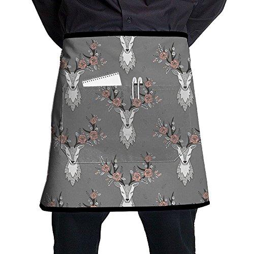 Kjiurhfyheuij Half Short Aprons Deer Head Waist Apron With Pockets Kitchen Restaurant For Women Men Server -