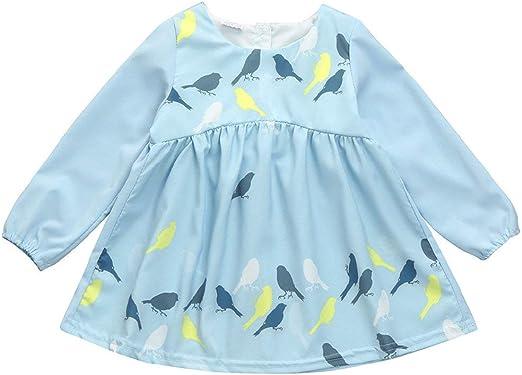 LianMengMVP - Vestido de Fiesta para niña, diseño de pájaro, Manga ...