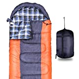FUUNSOO Flannel Sleeping bags for Camping Envelope Portable Lightweight, Waterproof, Backpacking Sleeping Bag with Compression Sack for Adult & Kids 4 Season Camping Traveling Hiking Outdoor