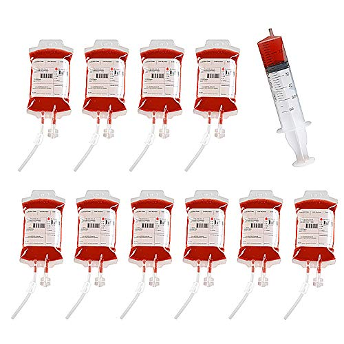 (MGparty Party Essentials Blood Bags for Drinks IV Blood Bags Jello Shots Jumbo Syringes with Cap Set for Halloween Zombie Party Decoration (300mlblood Bag 10pcs+60ml Jello Shots)