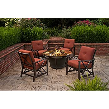 Oakland Living Moonlight Round Gas Firepit Table With Tempered Fiber Glass  Top, Antique Bronze