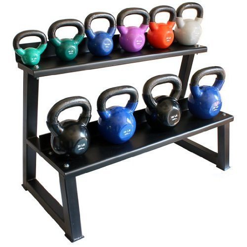 Ader Vinyl Kettlebell Set w/ Rack & DVD- (5-50 Lb,+ 8, 12, 18 Lbs) Great Gift Item. by Ader Sports