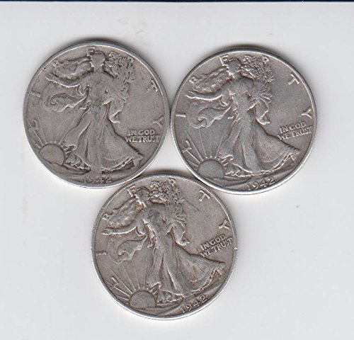 1942 P,-D,-S Walking Liberty Silver Half Dollars (3) Coins all 3 Mint Marks Average Circulated Choice Fine (1942 Walking Liberty Half Dollar Mint Mark)