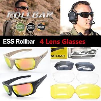 Ciclismo gafas lente 4 ESS Militar Táctico gafas de sol Rollbar polarizadas: Amazon.es: Deportes y aire libre
