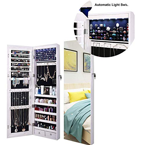 Armoire Grande - AOOU Jewelry Organizer Jewelry Cabinet, Full Screen Display View Larger Mirror, Lockable Wall Door Mounted, Full Length Mirror, Large Capacity Dressing Mirror Makeup Jewelry Armoire,White