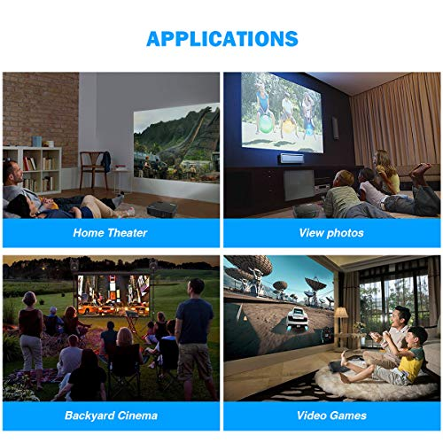 Projector, WiMiUS P18 4000 Lumens LED Projector Support 1080P 200'' Display 50,000H LED Compatible with Amazon Fire TV Stick Laptop iPhone Android Phone Xbox Via HDMI USB VGA AV Black by WiMiUS (Image #7)