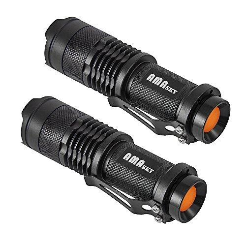 Linterna LED, AMASKY 2x CREE Mini LED Linternas antorcha, 7W enfoque ajustable, Super brillante 500lúmenes, diseño...