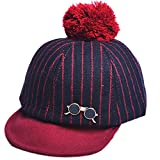 Thenice Baby Toddler Foldable Hairball Woolen Baseball cap Hat Warm Winter Cap (Glasses Red)