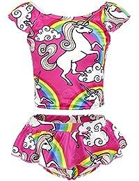 Cotrio Girls Two-Pieces Swimming Suit Rainbow Unicorn Tankini Swimsuits Toddler Swimwear Baby Girl Bikinis Size 12 (8-9Years, Hot Pink)