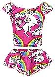 AmzBarley Girls Unicorn Swimming Costume Two Piece Swimwear Swimsuit Tankini Bathing Suit for Kids Girls 120/6