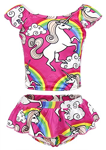 HenzWorld Girls' Unicorn Rainbow Bikini Beach Sport 2-Piece Swimsuit Taniknis Outfits