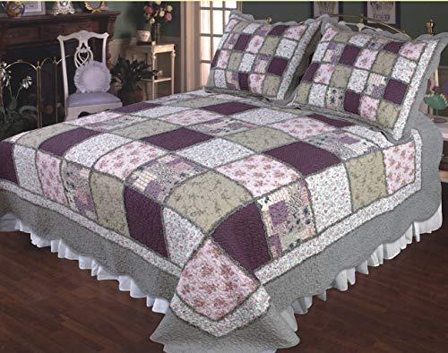 Elegant Decor Sugar Plum Cotton Foral Patchwork Quilt Collection (Super King Quilt 118