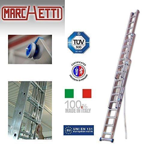 Seilzugleiter Azzurra AC310 bis 7,50 m aus Aluminium / Ausziehleiter mit Seil / Leiter aus Aluminium