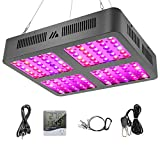MAYGROW Reflector-Series 1200W LED Plant Grow Light, with Thermometer Humidity Monitor and Adjustable Rope, Full Spectrum Double Switch Plant Light for Indoor Plants Veg and Flower