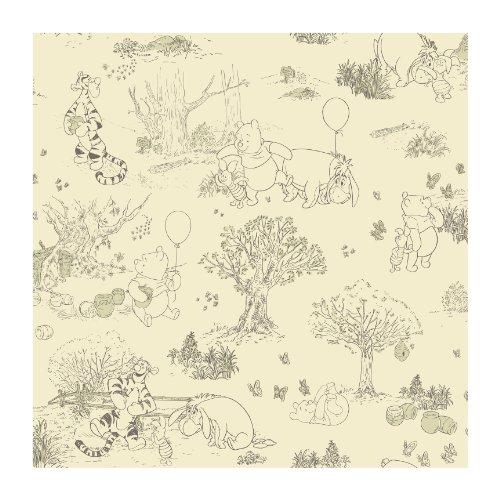 York Wallcoverings DK5842SMP Disney Kids Pooh & Friends Toile Wallpaper Memo Sample, 8-Inch x 10-Inch
