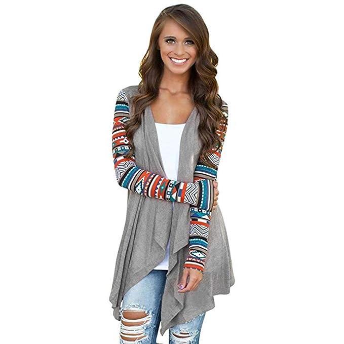 Wei/ß Vnice Damen Striped Langarmshirt Strickjacke Kimono Cardigan Cover Up Patchwork Outwear