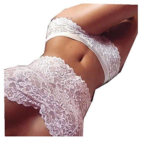 Price comparison product image Club Underwear, Sexy Women Lace Tube Top Briefs Underwear Set 1PC Top + 1PC Briefs (S,  White)