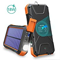 BLAVOR Solar Charger Power Bank 18W, QC ...