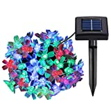 LE 23ft Christmas Solar String Lights, 50 LED, Waterproof, RGB, Cherry Blossom Fairy Lights with Light Sensor, Outdoor Wedding Party Patio Garden Holiday Festival Celebration Thanksgiving Decoration