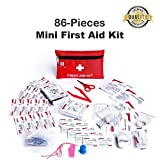 Mini First Aid Kit, 86 Pieces Mini Small First Aid Kit Includes Emergency Foil Blanket, CPR Face Mask,Security Whistle for Home,Vehicle,Travel,Office,Workplace,Child Care, Hiking,Survival & Outdoor