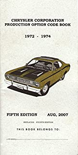 Mopar dodge plymouth chrysler 1969 1970 1971 fender tag mopar dodge plymouth chrysler 1972 1973 1974 production code book fender tag fandeluxe Image collections