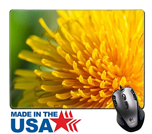 "MSD Natural Rubber Mouse Pad/Mat with Stitched Edges 9.8"" x 7.9"" IMAGE ID 20701021 macro photografhy of yellow common dandelion"