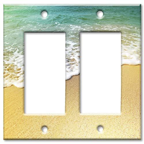 Art Plates 2 Gang Decora - GFCI Wall Plate - Foamy Waves on the Beach