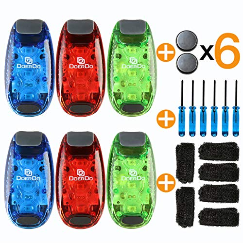 DoerDo LED Safety Light + 12 Free Bonuses Battery, Clip High LED Visibility Light for Running, Walking, Jogging, Cycling, Reflective for Kids, Dogs, Bike Tail Light, Outdoors Activity (3 LED 6-Pack)