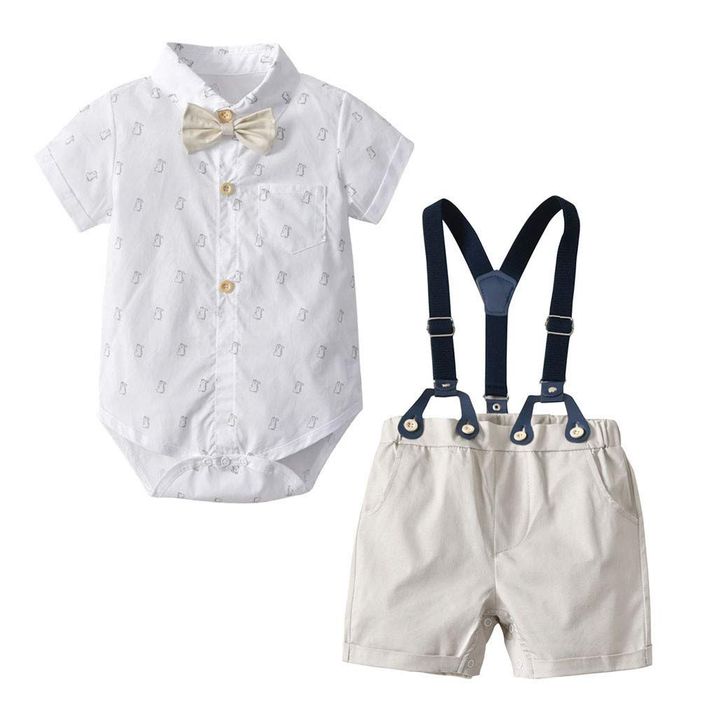 Bow Tie Tops 0M-24M Suspenders Overalls Summer Outfits Suit residentD Toddler Baby Boys Clothes Set