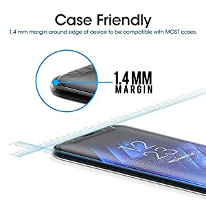 Galaxy S8 3D Curved Tempered Glass Screen Protector, Scarer Exact Design 100% Full Screen Coverage, HD Clear, Anti-Scratch, Anti-Fingerprint, Case Friendly, Bubble Free from Scarer