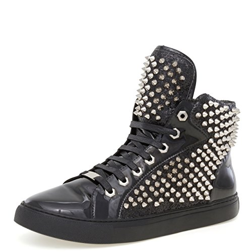 J75 Jump Mænds Zulu Runde Tå Glitter Spike Lace-up High-top Sneaker Sort 1kJOp9wyK9