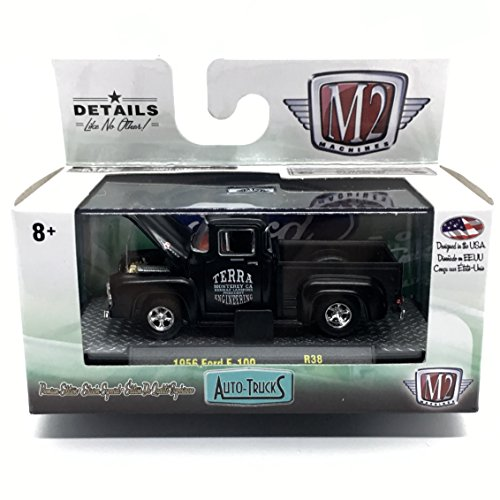 (M2 Machines 1956 Ford F-100 Truck (Black Semi-Gloss) Auto-Trucks Series Release 38-2016 Castline Premium Edition 1:64 Scale Die-Cast Vehicle (R38 16-19))