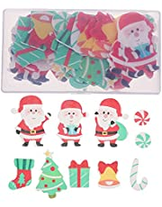 ABOOFAN 100pcs Christmas Edible Cake Toppers Wafer Rice Paper Cupcake Toppers Fruit Dessert Decors for Holiday Birthday Wedding Supplies ( Random )