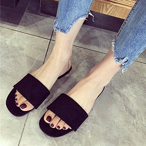 plana mujer y XIAOGEGE suave nueva Negro de mei moda de flat verano desgaste zapatos 70q6U