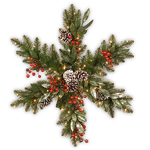Pre-Lit Frosted Pine Berry Snowflake Artificial Christmas Wreath - 32-Inch, LED Lights Battery Operated