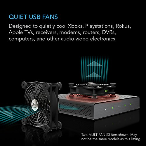AC Infinity MULTIFAN S1, Quiet 80mm USB Fan for Receiver DVR Playstation Xbox Computer Cabinet Cooling by AC Infinity (Image #1)