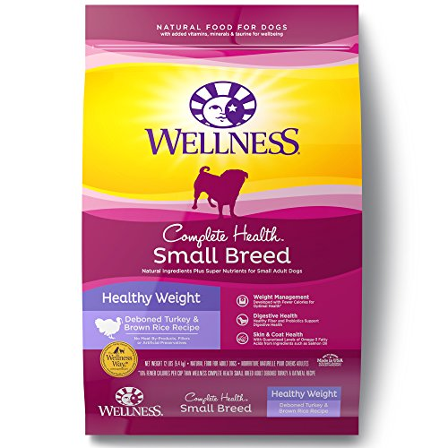 Wellness Complete Health Natural Dry Small Breed Healthy Weight Dog Food, Turkey & Rice, 12-Pound (Brown Rice Weight)