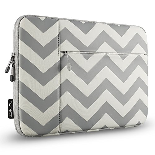 Runetz - 15-inch Chevron Gray Neoprene Sleeve Case Cover for MacBook Pro 15.4 with Retina Display/Touch Bar & Laptop 15 - Chevron Grey