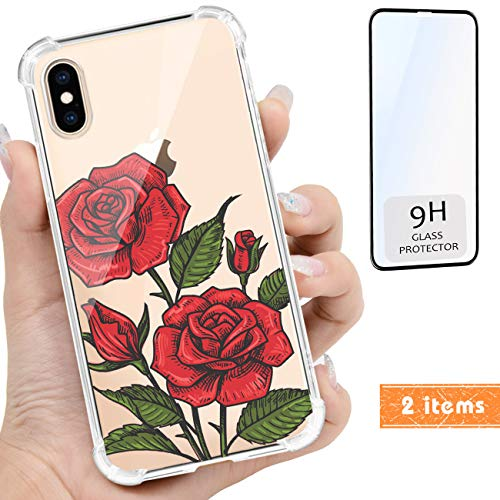 iProductsUS Compatible with iPhone Xs/X (10) Clear Case and Screen Protector, Print Beautiful Roses Design Crystal Slim Cover, Hard PC Back + Soft TPU Bumper Protective Shockproof Cases (5.8 inch) ()
