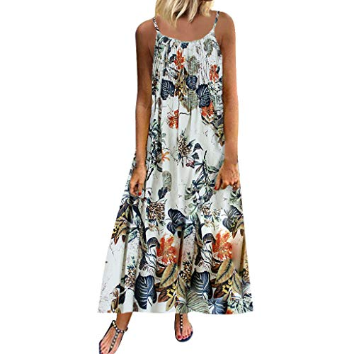 (Aniywn Women Vintage Floral Print Maxi Dress Bohemian Spaghetti Straps Plus Size Dress Sleeveless Dresses)