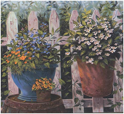 Blue Orange White Yellow Flowers in Pots Fenced Yard Country Wallpaper Border Farmhouse Design, Roll 15' x ()